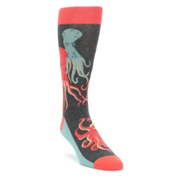 Image of Red Blue Octopus Men's Dress Socks (side-1-front-02)