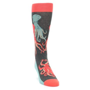 Image of Red Blue Octopus Men's Dress Socks (side-1-front-03)