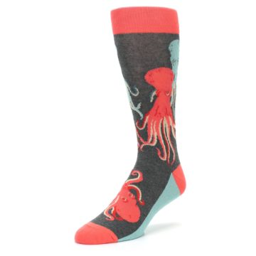 Image of Red Blue Octopus Men's Dress Socks (side-2-front-08)