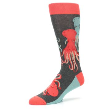 Image of Red Blue Octopus Men's Dress Socks (side-2-09)
