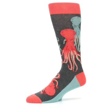 Image of Red Blue Octopus Men's Dress Socks (side-2-10)