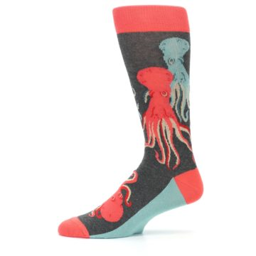 Image of Red Blue Octopus Men's Dress Socks (side-2-11)