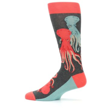 Image of Red Blue Octopus Men's Dress Socks (side-2-12)