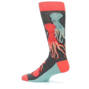 Image of Red Blue Octopus Men's Dress Socks (side-2-13)