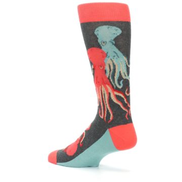 Image of Red Blue Octopus Men's Dress Socks (side-2-back-14)