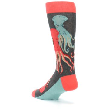 Image of Red Blue Octopus Men's Dress Socks (side-2-back-15)