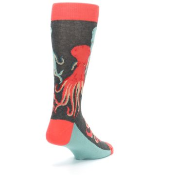Image of Red Blue Octopus Men's Dress Socks (side-1-back-21)