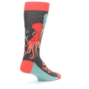 Image of Red Blue Octopus Men's Dress Socks (side-1-back-22)