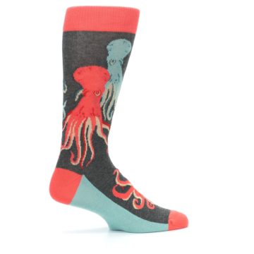 Image of Red Blue Octopus Men's Dress Socks (side-1-24)