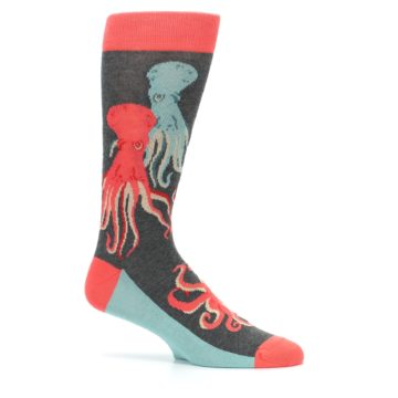 Image of Red Blue Octopus Men's Dress Socks (side-1-25)