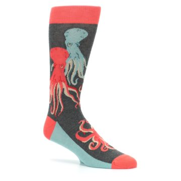 Image of Red Blue Octopus Men's Dress Socks (side-1-26)