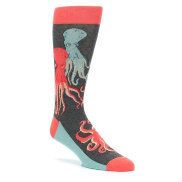 Image of Red Blue Octopus Men's Dress Socks (side-1-27)