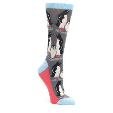 Gray-Blue-Penguin-Family-Womens-Dress-Socks-Statement-Sockwear