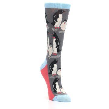 Image of Gray Blue Penguins Family Women's Dress Socks (side-1-front-02)