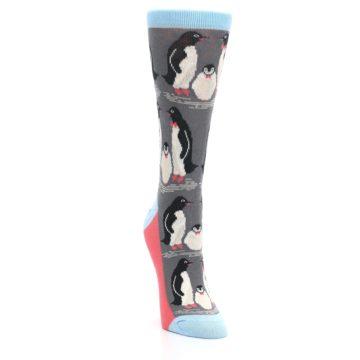 Image of Gray Blue Penguins Family Women's Dress Socks (side-1-front-03)