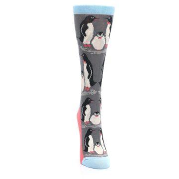 Image of Gray Blue Penguins Family Women's Dress Socks (front-04)