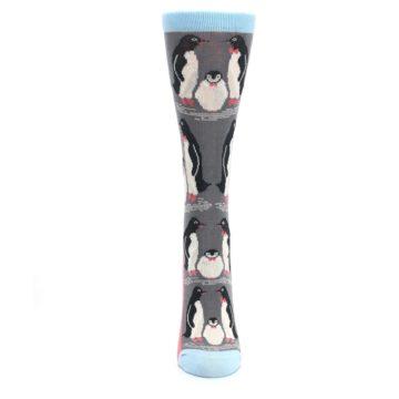 Image of Gray Blue Penguins Family Women's Dress Socks (front-05)