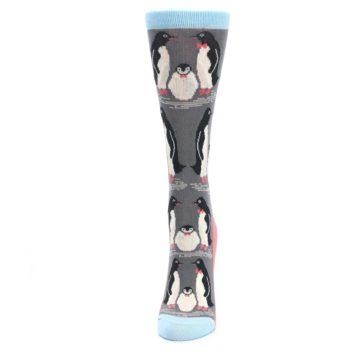Image of Gray Blue Penguins Family Women's Dress Socks (side-2-front-06)