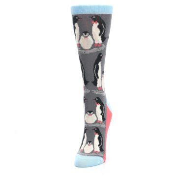 Image of Gray Blue Penguins Family Women's Dress Socks (side-2-front-07)