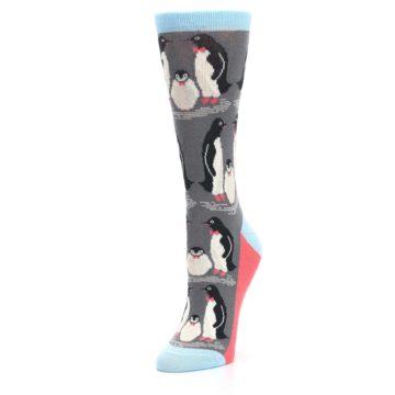 Image of Gray Blue Penguins Family Women's Dress Socks (side-2-front-08)