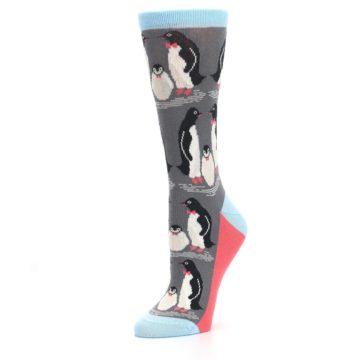 Image of Gray Blue Penguins Family Women's Dress Socks (side-2-09)
