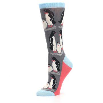 Image of Gray Blue Penguins Family Women's Dress Socks (side-2-10)