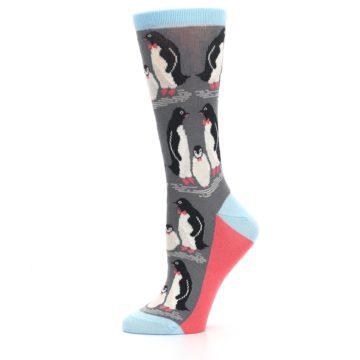 Image of Gray Blue Penguins Family Women's Dress Socks (side-2-11)