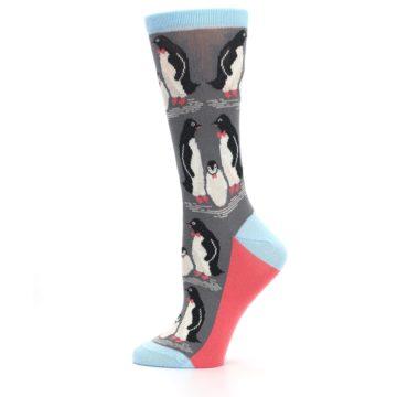 Image of Gray Blue Penguins Family Women's Dress Socks (side-2-12)