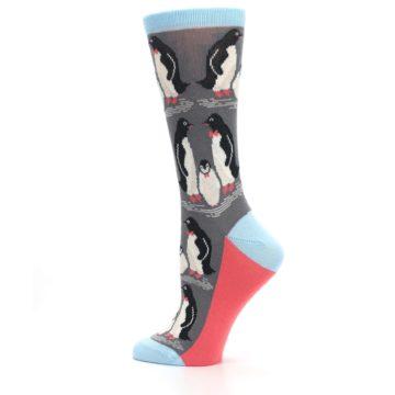Image of Gray Blue Penguins Family Women's Dress Socks (side-2-13)