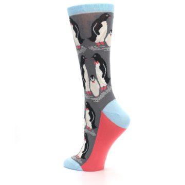 Image of Gray Blue Penguins Family Women's Dress Socks (side-2-back-14)