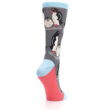 Image of Gray Blue Penguins Family Women's Dress Socks (side-1-back-22)