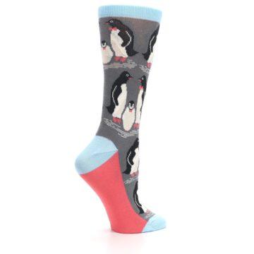 Image of Gray Blue Penguins Family Women's Dress Socks (side-1-24)
