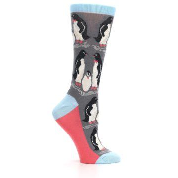 Image of Gray Blue Penguins Family Women's Dress Socks (side-1-25)
