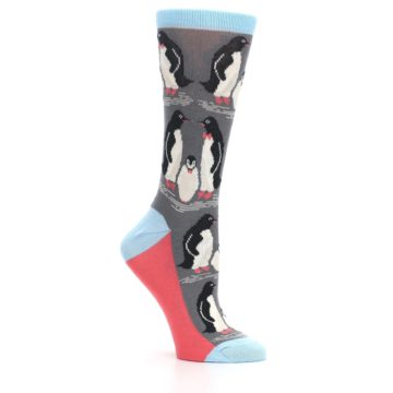Image of Gray Blue Penguins Family Women's Dress Socks (side-1-26)