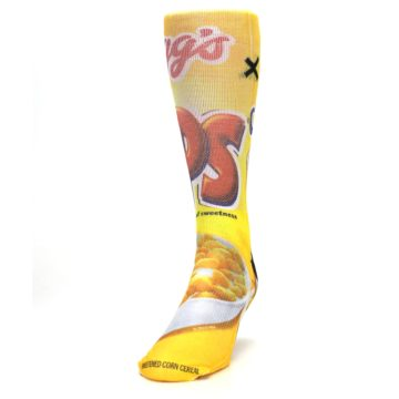 Image of Yellow Kellogg's Corn Pops Men's Casual Socks (side-2-front-06)
