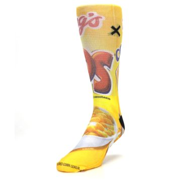 Image of Yellow Kellogg's Corn Pops Men's Casual Socks (side-2-front-07)
