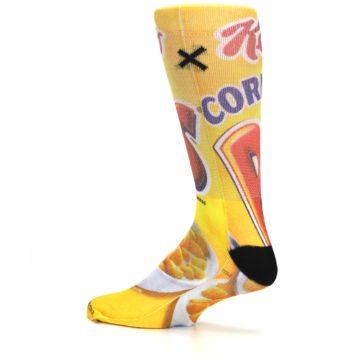 Image of Yellow Kellogg's Corn Pops Men's Casual Socks (side-2-13)