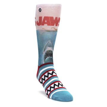 Image of Blue Red Jaws Shark Men's Casual Socks (side-1-front-02)