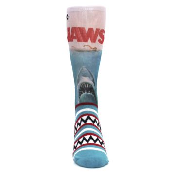 Image of Blue Red Jaws Shark Men's Casual Socks (front-04)