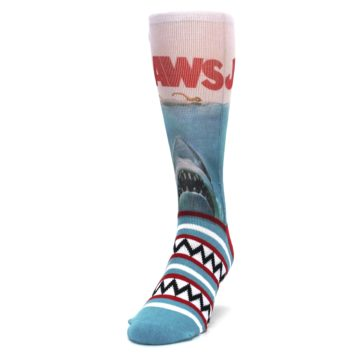 Image of Blue Red Jaws Shark Men's Casual Socks (side-2-front-06)