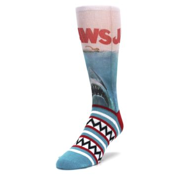 Image of Blue Red Jaws Shark Men's Casual Socks (side-2-front-07)