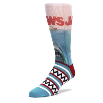 Image of Blue Red Jaws Shark Men's Casual Socks (side-2-front-08)