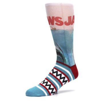 Image of Blue Red Jaws Shark Men's Casual Socks (side-2-09)