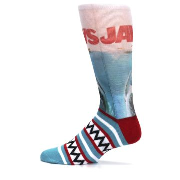 Image of Blue Red Jaws Shark Men's Casual Socks (side-2-12)