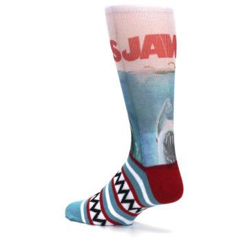 Image of Blue Red Jaws Shark Men's Casual Socks (side-2-back-14)