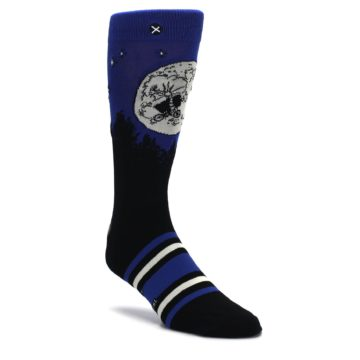 Image of Blue Black ET Alien Movie Men's Casual Socks (side-1-front-01)