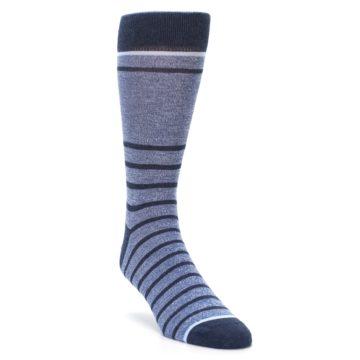 Blue-Navy-Heathered-Stripe-Mens-Dress-Socks-Statement-Sockwear