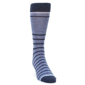 Image of Blue Navy Heathered Stripe Men's Dress Socks (side-1-front-03)