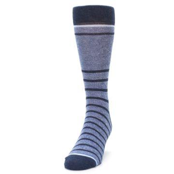 Image of Blue Navy Heathered Stripe Men's Dress Socks (side-2-front-06)