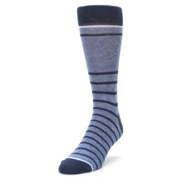 Image of Blue Navy Heathered Stripe Men's Dress Socks (side-2-front-07)